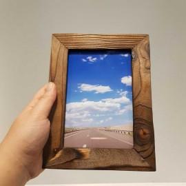 قاب عکس چوبی رنگ قهوه ای