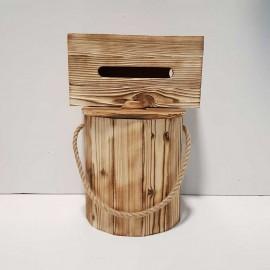 ست سطل و جادستمال کاغذی چوبی 300 برگ رنگ روشن بدون چفت
