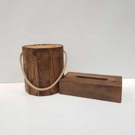 سطل بدون درب و جادستمال چوبی 200 برگ رنگ قهوه ای