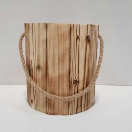 سطل بدون درب و جادستمال چوبی 200 برگ رنگ سوخته
