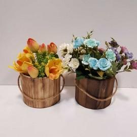 سطل استوانه چوبی کوچک
