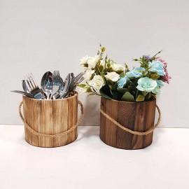 سطل استوانه چوبی..