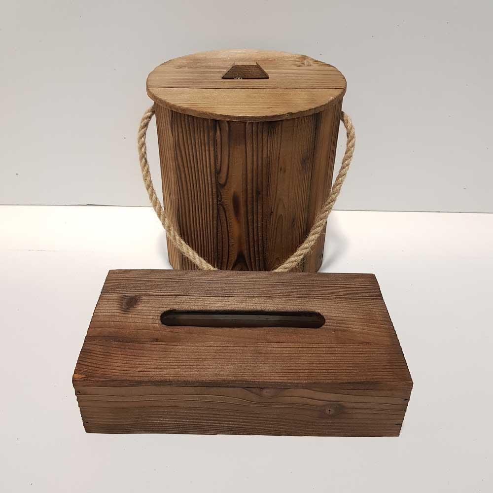 ست سطل و جادستمال کاغذی چوبی 200 برگ رنگ قهوه ای