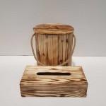 ست سطل و جادستمال کاغذی چوبی 200 برگ رنگ روشن