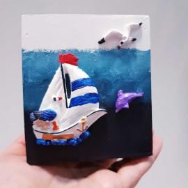 جاقلم دریایی رنگ سفید طرح کشتی