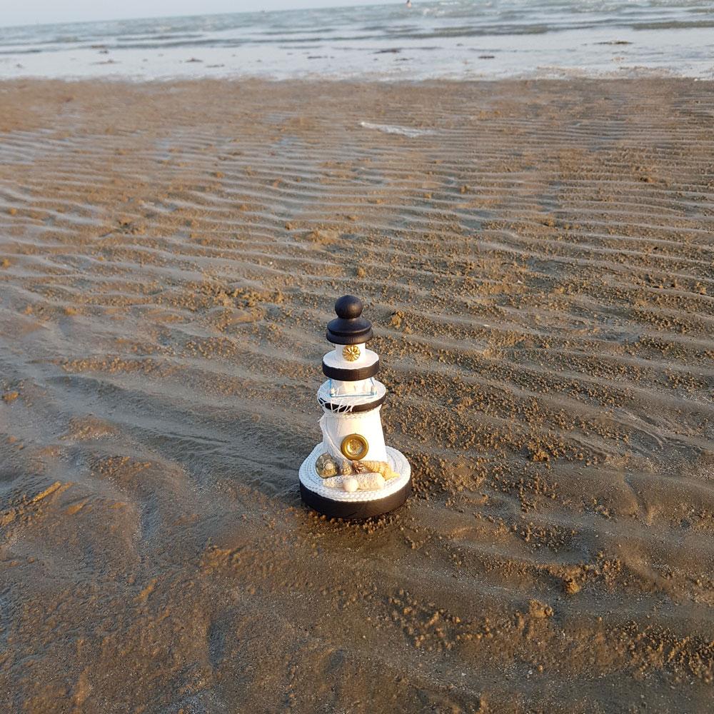 فانوس دریایی چوبی مینی سفید لوکه