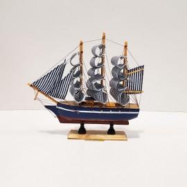 کشتی دکوری 3 بادبانه کوچک بادبان آبی
