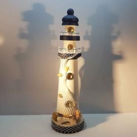 فانوس دریایی چوبی بزرگ رنگ سفید لوکه