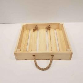 سینی دسته طنابی 25 سانتی رنگ چوب