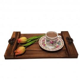 سینی چوبی دسته فلزی کوچک قهوه ای