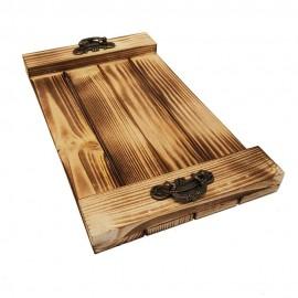 سینی چوبی دسته فلزی کوچک رنگ چوب