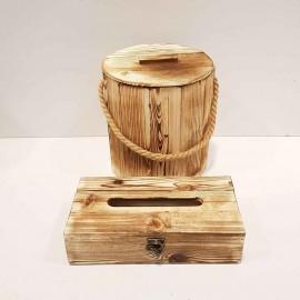 ست سطل و جادستمال کاغذی چوبی رنگ روشن