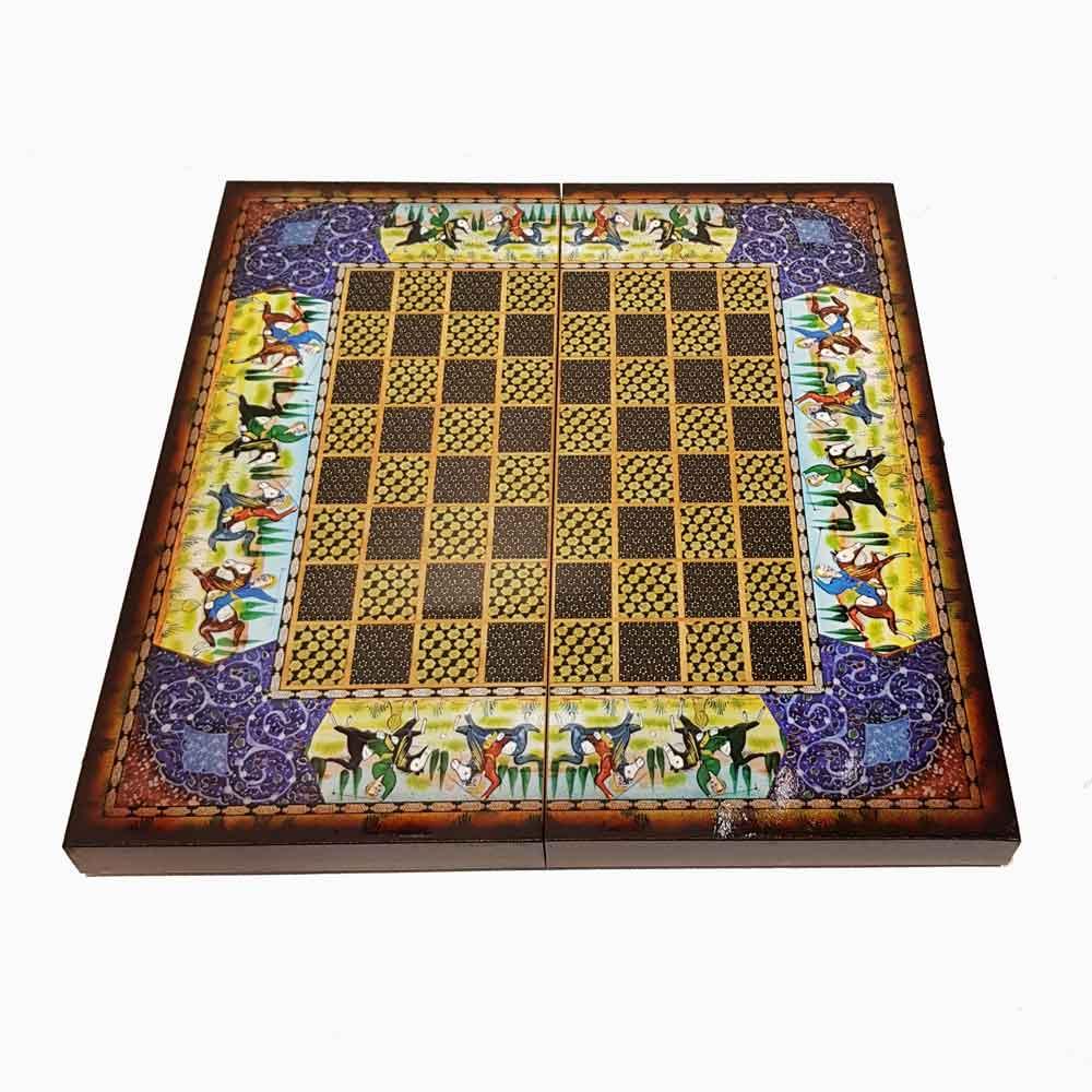 صفحه شطرنج وتخته نرد 50طرح چوگان آبی