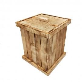 سطل چوبی چهارگوش بزرگ رنگ سوخته