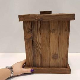 سطل چوبی چهارگوش بزرگ رنگ قهوه ای