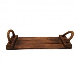 سینی چوبی طنابی کوچک رنگ تیره