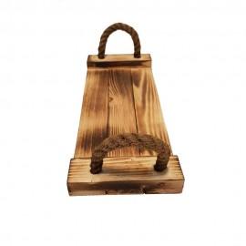 سینی چوبی طنابی کوچک رنگ سوخته