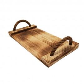 سینی چوبی طنابی متوسط رنگ سوخته