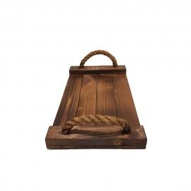 سینی چوبی طنابی متوسط رنگ تیره