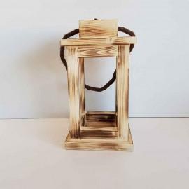 فانوس چوبی کوچک رنگ سوخته