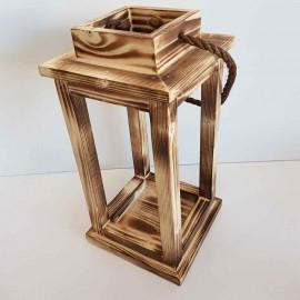 فانوس چوبی سه عددی رنگ سوخته