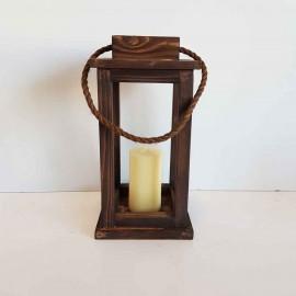 فانوس چوبی متوسط رنگ قهوه ای