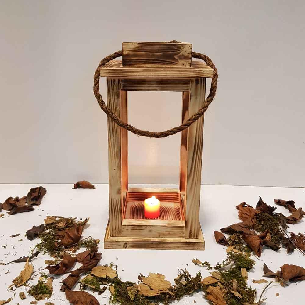 فانوس چوبی متوسط رنگ سوخته