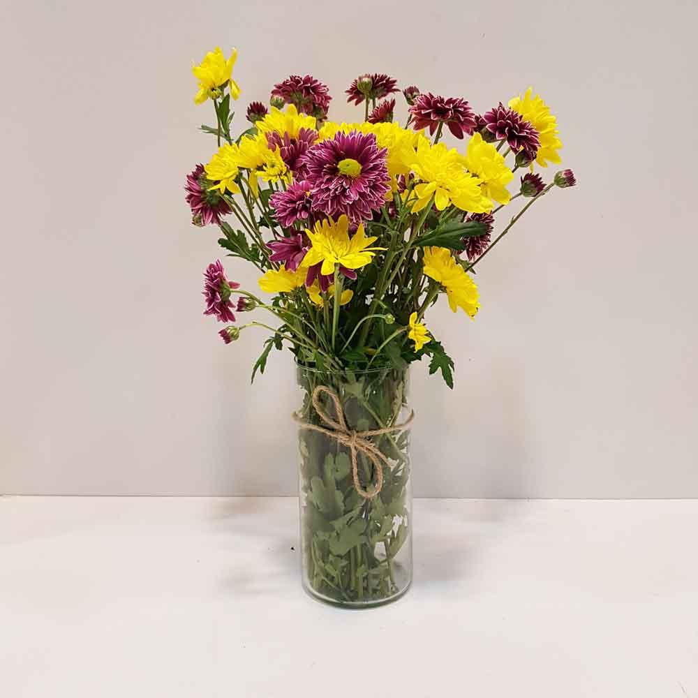 گلدان شیشه ای 20 سانتی میخک
