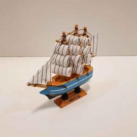 کشتی 3 بادبانه رنگ آبی کمرنگ مینی