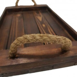 سینی چوبی طنابی رنگ تیره