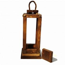 فانوس چوبی پایه چوبی