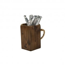 لیوان دکوری چوبی دسته طنابی