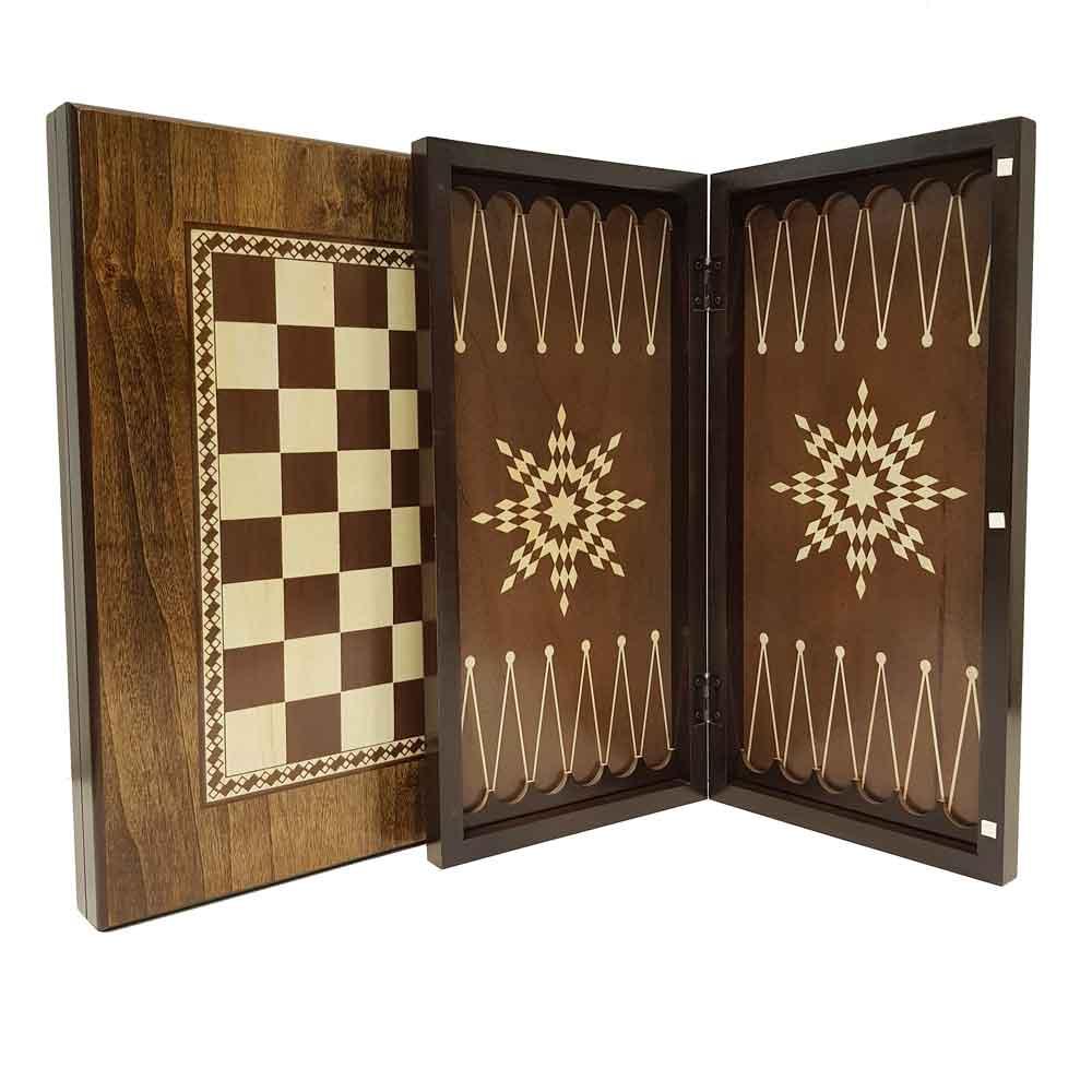 صفحه شطرنج و تخته نرد گردو مدل ستاره 1