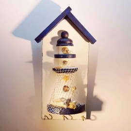 جاکلیدی فانوس دریایی چوبی سفید کوچک